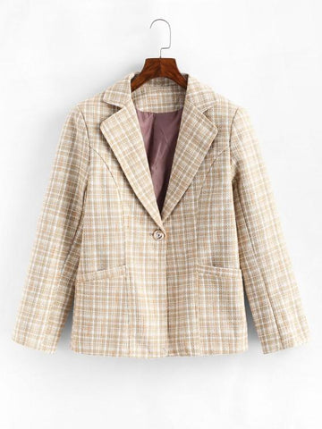 One Buttoned Pockets Plaid Tweed Blazer - INS | Online Fashion Free Shipping Clothing, Dresses, Tops, Shoes