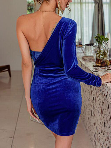 One Shoulder Ruched Velvet Dress - INS | Online Fashion Free Shipping Clothing, Dresses, Tops, Shoes