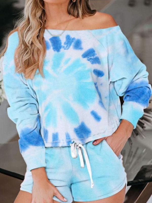 One Shoulder Tie Dye Pants Suit - INS | Online Fashion Free Shipping Clothing, Dresses, Tops, Shoes