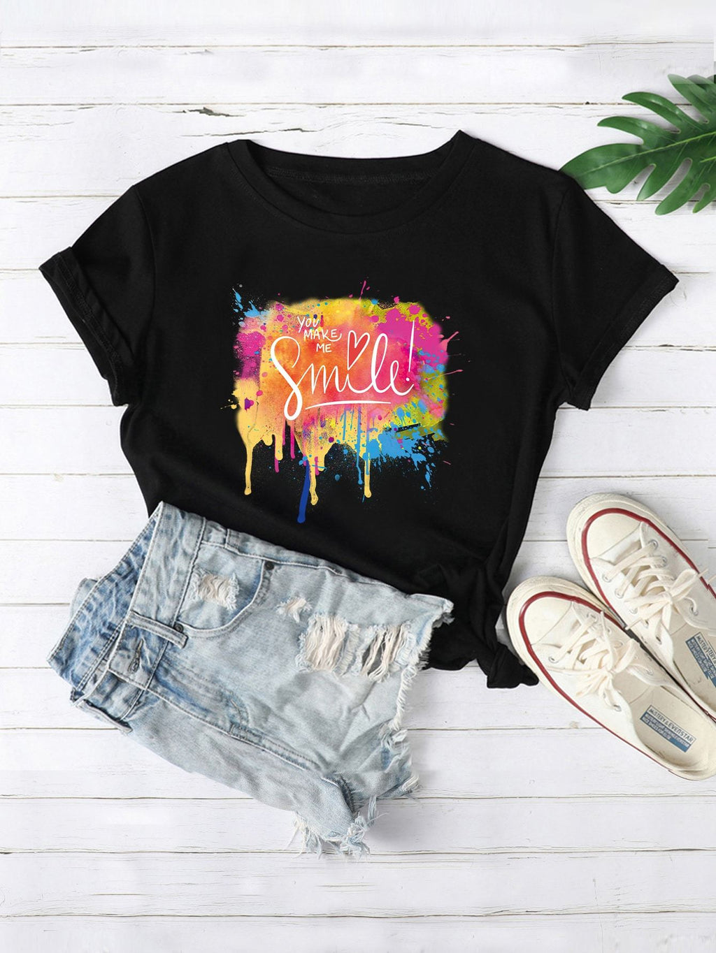 Paint Drip And Slogan Graphic Tee - INS | Online Fashion Free Shipping Clothing, Dresses, Tops, Shoes