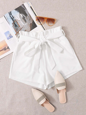 Paperbag Waist Slant Pocket Self Belted Shorts - INS | Online Fashion Free Shipping Clothing, Dresses, Tops, Shoes