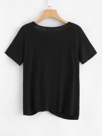 Pearl Embellished Twist Front Tee - INS | Online Fashion Free Shipping Clothing, Dresses, Tops, Shoes