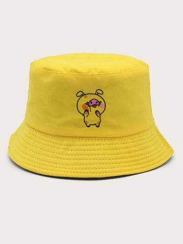 Pig Embroidery Bucket Hat - INS | Online Fashion Free Shipping Clothing, Dresses, Tops, Shoes