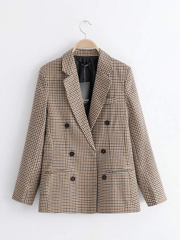 Plaid Lapel Collar Double Breasted Blazer - INS | Online Fashion Free Shipping Clothing, Dresses, Tops, Shoes