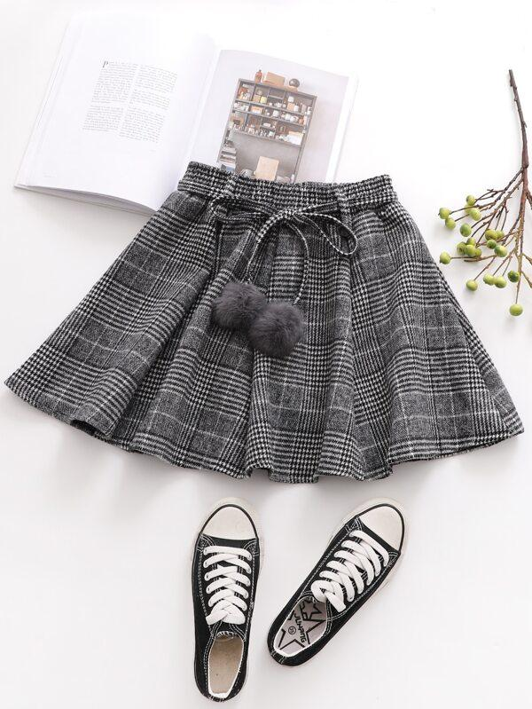 Plaid Pom Pom Belted Skirt - INS | Online Fashion Free Shipping Clothing, Dresses, Tops, Shoes