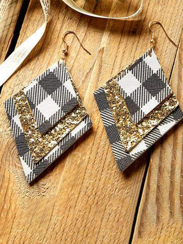 Plaid Sequin Earrings - INS | Online Fashion Free Shipping Clothing, Dresses, Tops, Shoes