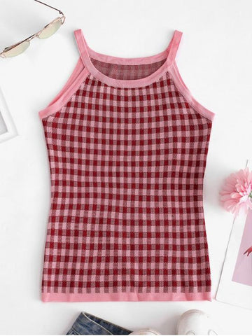Plaid Slim Knitted Tank Top - INS | Online Fashion Free Shipping Clothing, Dresses, Tops, Shoes