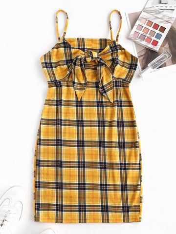 Plaid Tied Cami Bodycon Dress - INS | Online Fashion Free Shipping Clothing, Dresses, Tops, Shoes