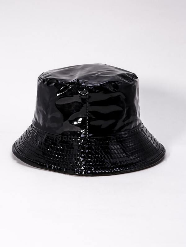 Plain PU Bucket Hat - INS | Online Fashion Free Shipping Clothing, Dresses, Tops, Shoes