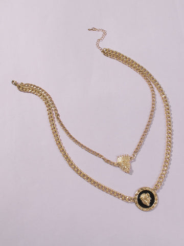 Plate Pendant Dual Lap Alloy Necklace - INS | Online Fashion Free Shipping Clothing, Dresses, Tops, Shoes