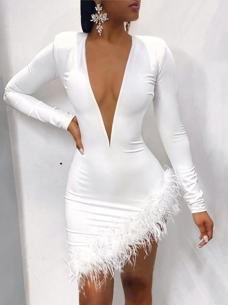 Plunge Fluffy Irregular Party Dress - Bodycon Dresses - INS | Online Fashion Free Shipping Clothing, Dresses, Tops, Shoes - 27/04/2021 - Bodycon Dresses - Color_White