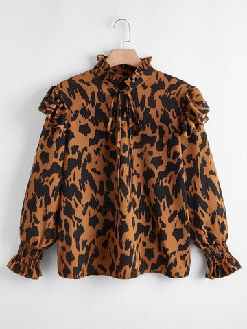 Plus All Over Print Tie Neck Flounce Sleeve Blouse - INS | Online Fashion Free Shipping Clothing, Dresses, Tops, Shoes