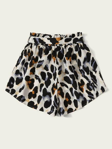 Plus Allover Print Paperbag Belted Shorts - INS | Online Fashion Free Shipping Clothing, Dresses, Tops, Shoes