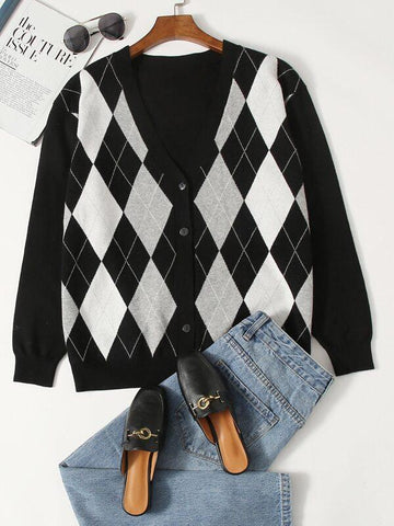 Plus Argyle Pattern Button Front Cardigan - INS | Online Fashion Free Shipping Clothing, Dresses, Tops, Shoes