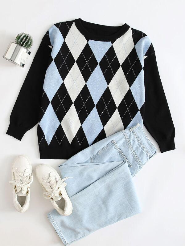 Plus Argyle Pattern Sweater - INS | Online Fashion Free Shipping Clothing, Dresses, Tops, Shoes