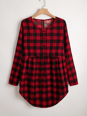 Plus Buffalo Plaid Button Curved Hem Smock Dress - INS | Online Fashion Free Shipping Clothing, Dresses, Tops, Shoes