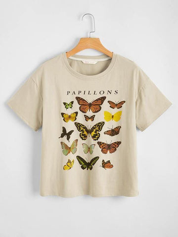 Plus Butterfly And Letter Graphic Tee - INS | Online Fashion Free Shipping Clothing, Dresses, Tops, Shoes