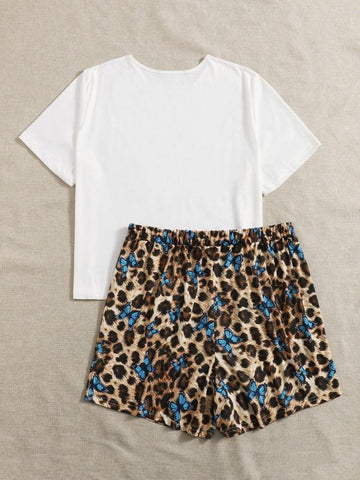 Plus Butterfly Print Top & Leopard Shorts PJ Set - INS | Online Fashion Free Shipping Clothing, Dresses, Tops, Shoes