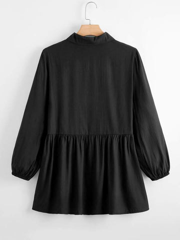 Plus Button Front Solid Shirt Dress - INS | Online Fashion Free Shipping Clothing, Dresses, Tops, Shoes
