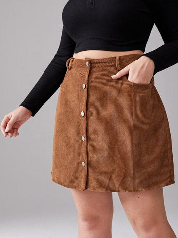 Plus Button Through Corduroy Skirt - INS | Online Fashion Free Shipping Clothing, Dresses, Tops, Shoes