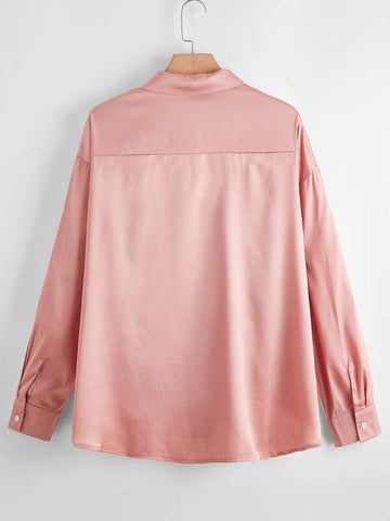 Plus Button Up High Low Satin Blouse - INS | Online Fashion Free Shipping Clothing, Dresses, Tops, Shoes