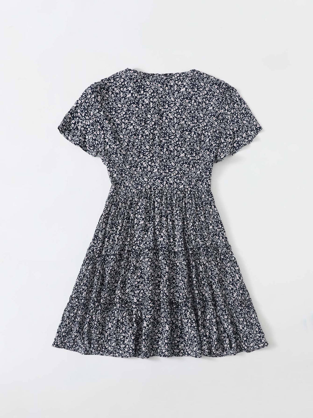 Plus Buttoned Front Frill Trim Ditsy Floral Dress - Curve+Plus - INS | Online Fashion Free Shipping Clothing, Dresses, Tops, Shoes - 2XL - 3XL - 4XL