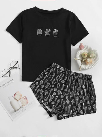 Plus Cactus Print Pajama Set - INS | Online Fashion Free Shipping Clothing, Dresses, Tops, Shoes