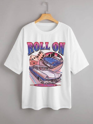 Plus Car And Letter Graphic Tee - INS | Online Fashion Free Shipping Clothing, Dresses, Tops, Shoes