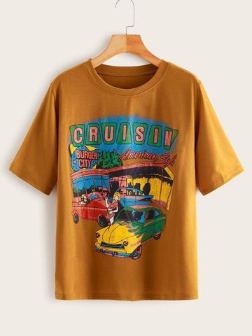 Plus Car & Letter Graphic Tee - INS | Online Fashion Free Shipping Clothing, Dresses, Tops, Shoes