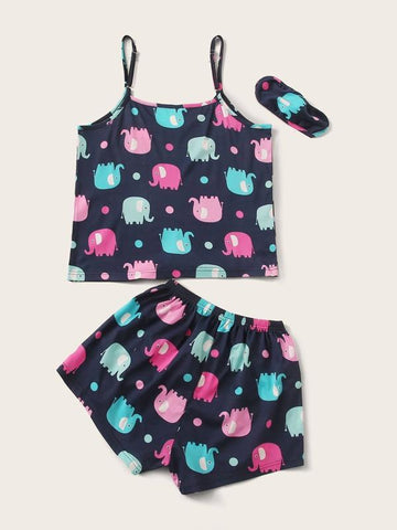 Plus Cartoon Elephant & Polka Dot Cami PJ Set With Eye Cover - INS | Online Fashion Free Shipping Clothing, Dresses, Tops, Shoes