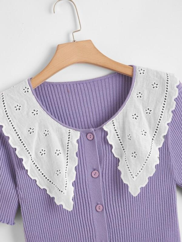 Plus Contrast Eyelet Embroidered Collar Lettuce Trim Cardigan - INS | Online Fashion Free Shipping Clothing, Dresses, Tops, Shoes