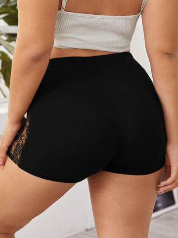 Plus Contrast Lace Biker Shorts - INS | Online Fashion Free Shipping Clothing, Dresses, Tops, Shoes