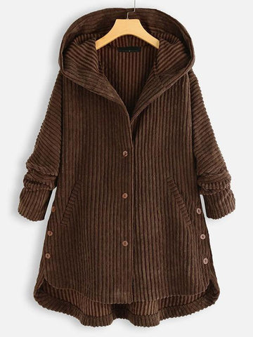 Plus Corduroy High Low Hooded Coat - INS | Online Fashion Free Shipping Clothing, Dresses, Tops, Shoes