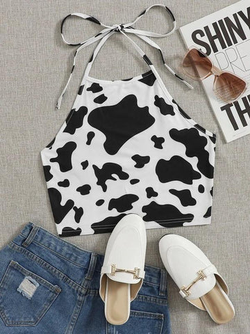 Plus Cow Pattern Halter Neck Top - INS | Online Fashion Free Shipping Clothing, Dresses, Tops, Shoes