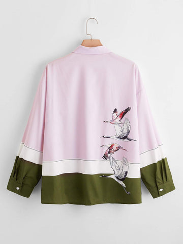 Plus Crane Print Colorblock Blouse - INS | Online Fashion Free Shipping Clothing, Dresses, Tops, Shoes