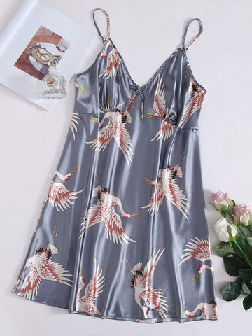 Plus Crane Print Satin Night Dress - INS | Online Fashion Free Shipping Clothing, Dresses, Tops, Shoes
