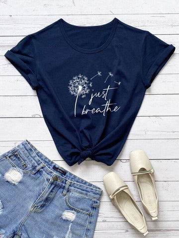 Plus Dandelion And Slogan Graphic Tee - INS | Online Fashion Free Shipping Clothing, Dresses, Tops, Shoes