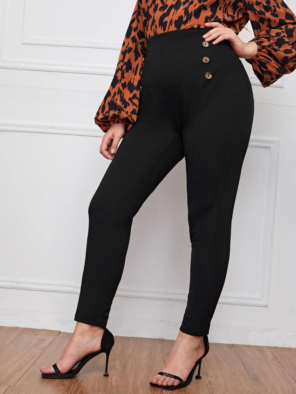 Plus Double Button Detail Skinny Pants - INS | Online Fashion Free Shipping Clothing, Dresses, Tops, Shoes