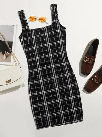 Plus Double Square Neck Plaid Bodycon Dress - INS | Online Fashion Free Shipping Clothing, Dresses, Tops, Shoes