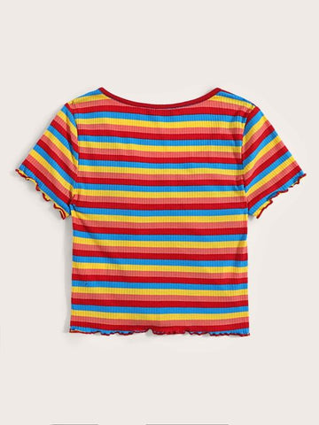 Plus Drawstring Front Rainbow Striped Top - INS | Online Fashion Free Shipping Clothing, Dresses, Tops, Shoes