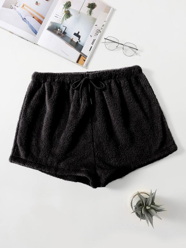 Plus Drawstring Waist Flannel Sleep Shorts - INS | Online Fashion Free Shipping Clothing, Dresses, Tops, Shoes