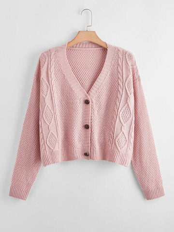 Plus Drop Shoulder Button Front Cardigan - INS | Online Fashion Free Shipping Clothing, Dresses, Tops, Shoes