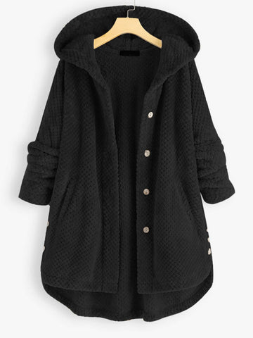 Plus Flannel Single Breasted High Low Hem Hooded Coat - INS | Online Fashion Free Shipping Clothing, Dresses, Tops, Shoes