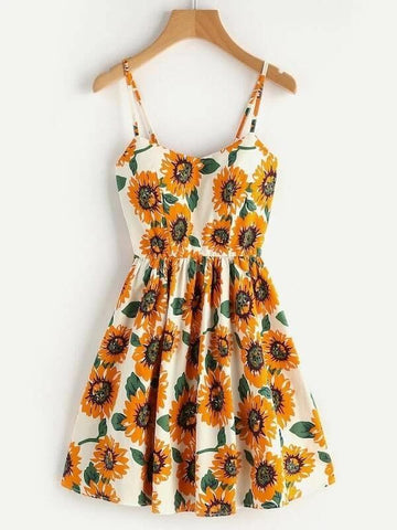 Plus Floral Print Cami Dress - INS | Online Fashion Free Shipping Clothing, Dresses, Tops, Shoes