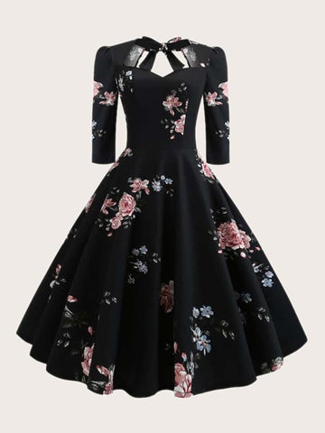 Plus Floral Print Fit And Flare Dress - INS | Online Fashion Free Shipping Clothing, Dresses, Tops, Shoes