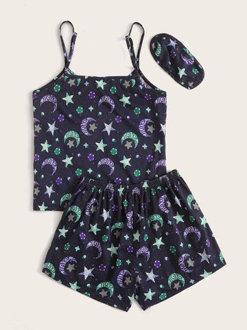 Plus Galaxy Print PJ Set & Eye Cover - INS | Online Fashion Free Shipping Clothing, Dresses, Tops, Shoes