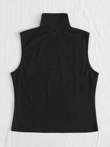 Plus High Neck Solid Tank Top - INS | Online Fashion Free Shipping Clothing, Dresses, Tops, Shoes