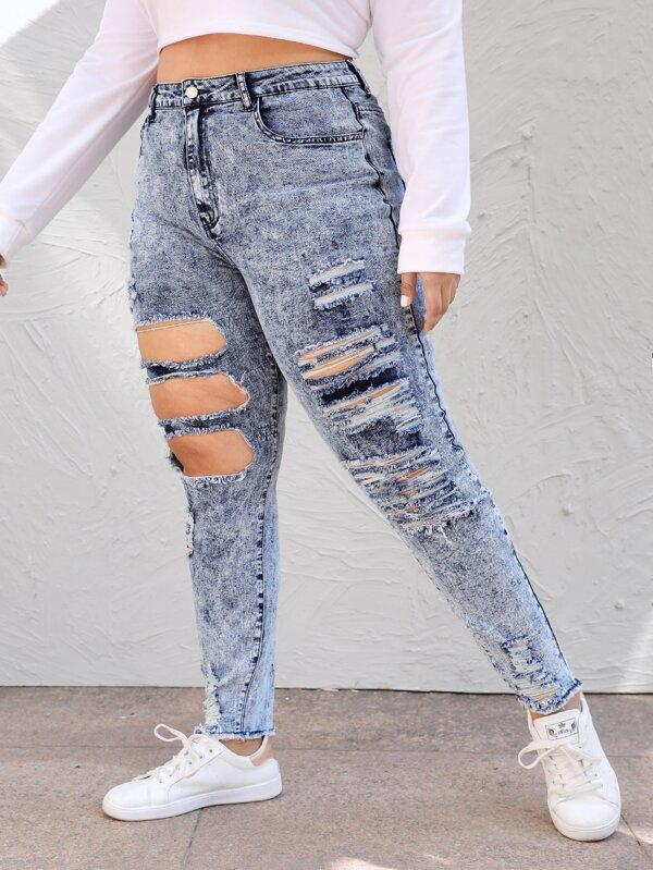 Plus High-Rise Ripped Jeans - INS | Online Fashion Free Shipping Clothing, Dresses, Tops, Shoes