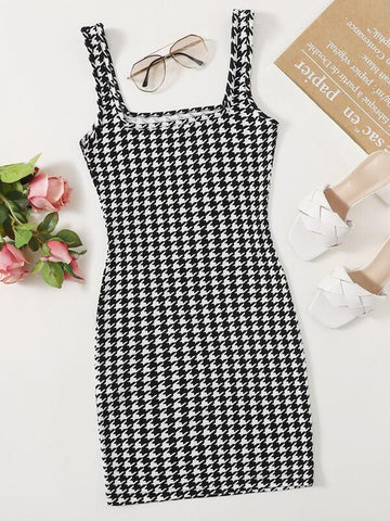 Plus Houndstooth Tank Bodycon Dress - INS | Online Fashion Free Shipping Clothing, Dresses, Tops, Shoes