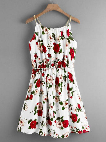 Plus Knot Front Floral Print Cami Dress - INS | Online Fashion Free Shipping Clothing, Dresses, Tops, Shoes